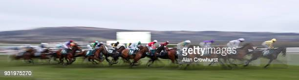 A general view of racing at Cheltenham racecourse on Ladies Day on March 14 2018 in Cheltenham England