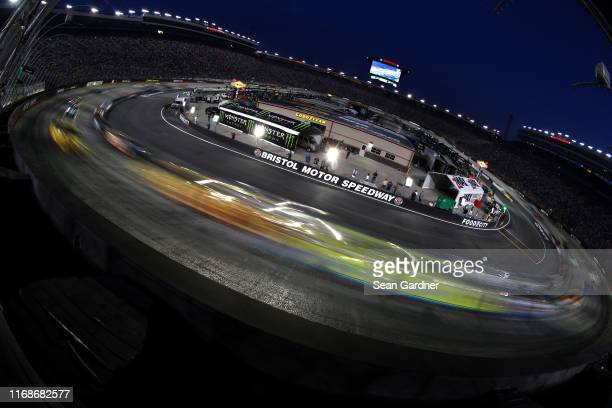 General view of racing during the Monster Energy NASCAR Cup Series Bass Pro Shops NRA Night Race at Bristol Motor Speedway on August 17, 2019 in...