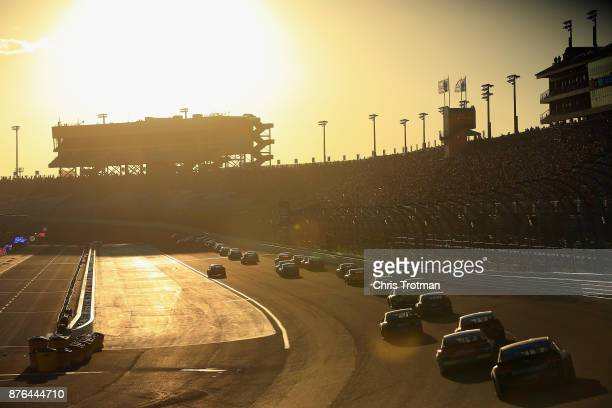 A general view of racing during the Monster Energy NASCAR Cup Series Championship Ford EcoBoost 400 at HomesteadMiami Speedway on November 19 2017 in...