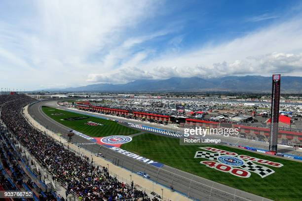 A general view of racing during the Monster Energy NASCAR Cup Series Auto Club 400 at Auto Club Speedway on March 18 2018 in Fontana California