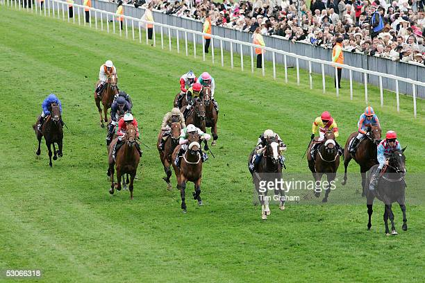A general view of racing on the first day of Royal Ascot 2005 at York Racecourse on June 14 2005 in York England One of the highlights of the racing...