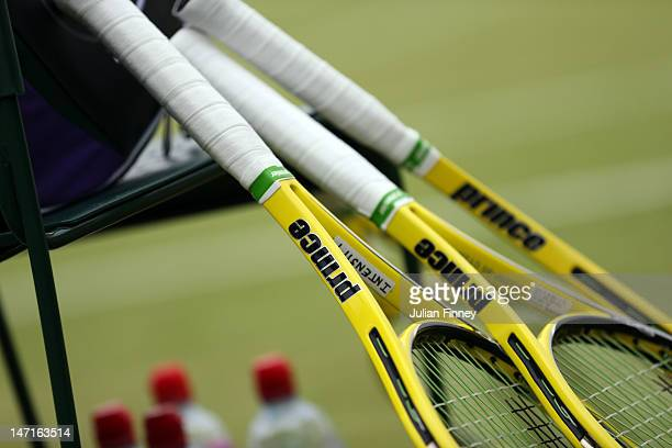 A general view of rackets on day two of the Wimbledon Lawn Tennis Championships at the All England Lawn Tennis and Croquet Club on June 26 2012 in...