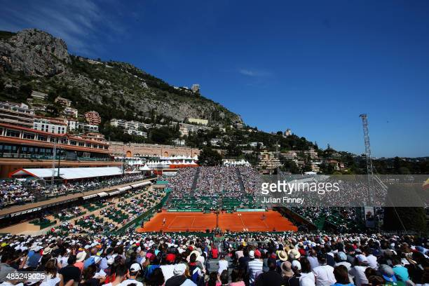 A general view of Rafael Nadal of Spain in action against Andreas Seppi of Italy during day five of the ATP Monte Carlo Rolex Masters Tennis at...