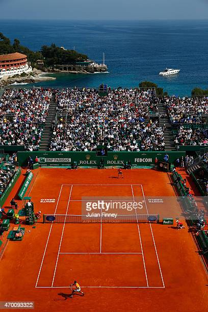 A general view of Rafael Nadal of Spain in action against David Ferrer of Spain during day six of the Monte Carlo Rolex Masters tennis at the...