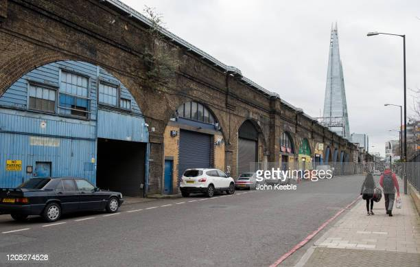 A general view of railway arches lockups on Druid Street looking toward the Shard on February 4 2020 in London England The Low Line is a new walking...