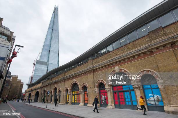 A general view of railway arches on St Thomas Street looking toward the Shard on February 4 2020 in London England The Low Line is a new walking...