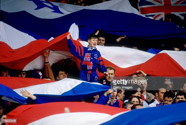 General view of Rangers supporters during a Scottish Premier Division match played at Ibrox Stadium in Glasgow Scotland Mandatory Credit Allsport UK...