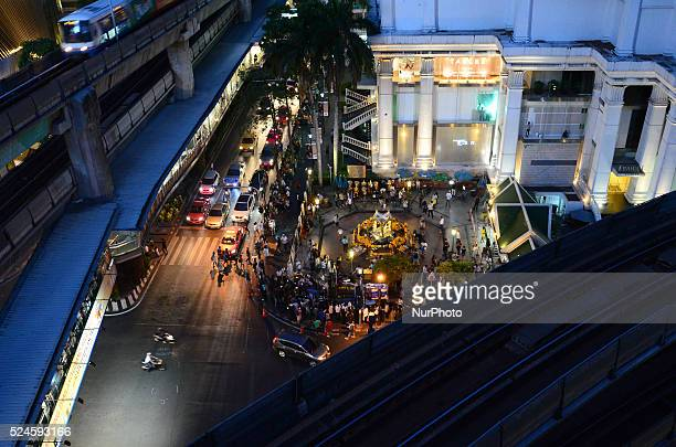 General view of Ratchaprasong intersection show the Erawan Shrine after it reopens in Bangkok, Thailand on August 19, 2015. The famous shrine...