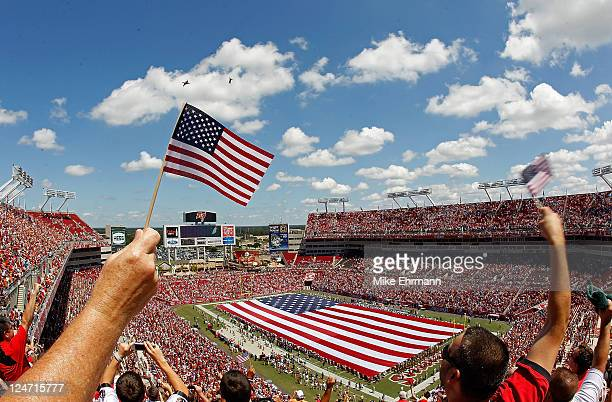 A general view of Raymond James Stadium during the season opener between the Tampa Bay Buccaneers and the Detroit Lions on September 11 2011 in Tampa...