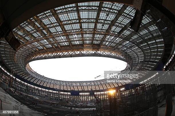A general view of reconstruction site of the Luzhniki stadium on October 28 2014 in Moscow Russia The Luzhniki stadium is to become one of the venues...