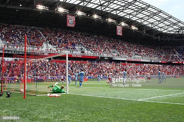 A general view of Red Bull Arena as Ronald Zubar of New York Red Bulls heads his sides second goal as he beats goalkeeper Josh Saunders of New York...