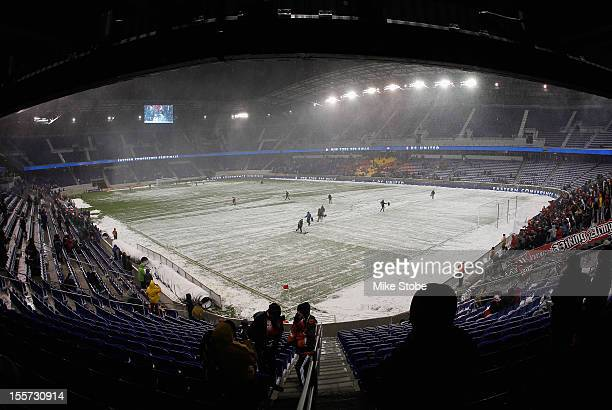 A general view of Red Bull arena during a weather delay prior to the match between the New York Red Bulls and the DC United at Red Bull Arena on...