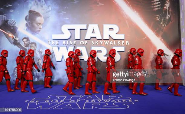 A general view of red stormtroopers attend the Star Wars The Rise of Skywalker European Premiere at Cineworld Leicester Square on December 18 2019 in...