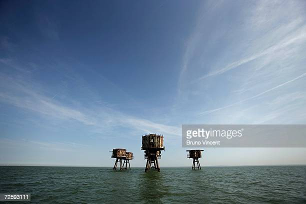 General view of Redsand towers on June 30 2006 in Whitstable England The Redsand Towers coded Uncle 6 during WW2 were built to protect supply ships...