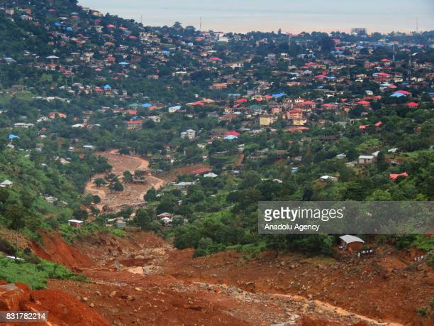 A general view of Regent region of Freetown after landslide struck the capital of the west African state of Sierra Leone on August 15 2017 At least...