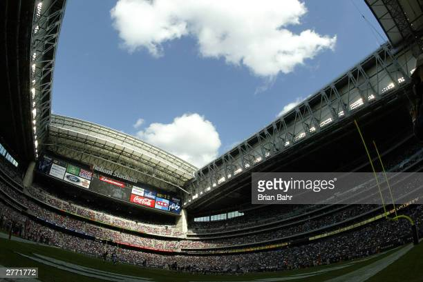 A general view of Reliant Stadium site of the XXXVIII Super Bowl during a game between the Houston Texans and the Atlanta Falcons November 30 2003 in...