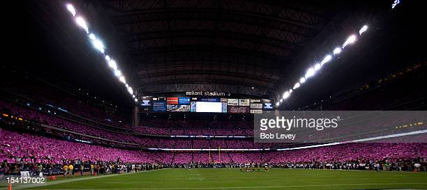 General view of Reliant Stadium was all pink for cancer awareness during a game between the Green Bay Packers and Houston Texans at Reliant Stadium...
