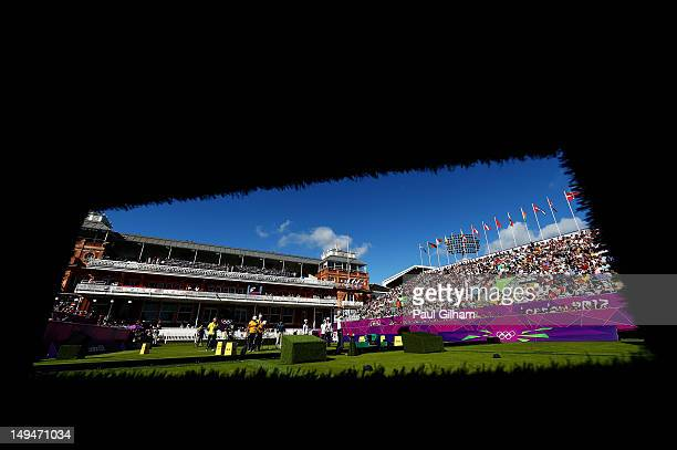 General view of Ren Hayakawa of Japan in action during the Women's Team Archery Eliminations match between Japan and Ukraine on Day 2 of the London...