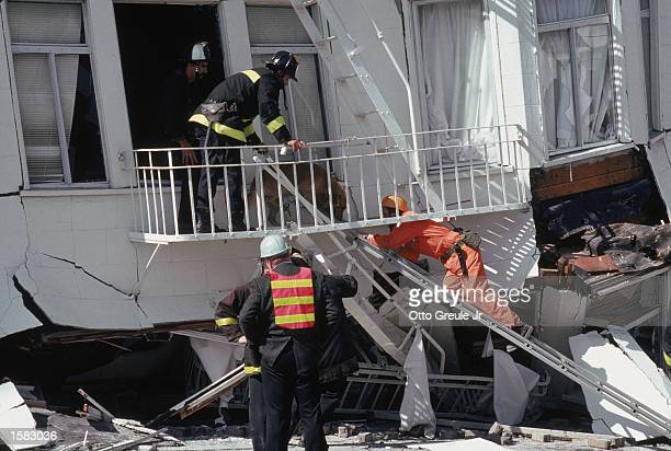 General view of rescue attempts in the Marina District disaster zone after the earthquake, measuring 7.1 on the richter scale, rocks game three of...