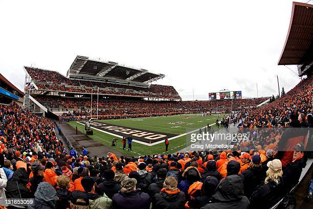 General View of Reser Stadium during the game between the Oregon State Beavers and the Stanford Cardinal on November 5, 2011 at Reser Stadium in...