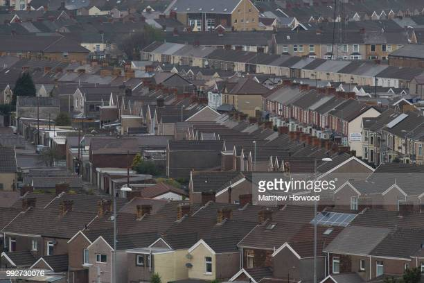 A general view of residential area near Tata Steel steelworks on April 21 2016 in Port Talbot United Kingdom Tata and ThyssenKrupp have announced...