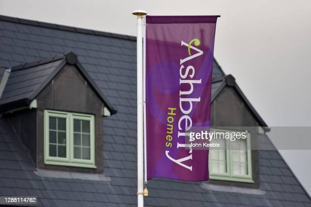 General view of residential property developer Ashberry Homes signage at a new build housing estate on November 27, 2020 in Rochford, England.