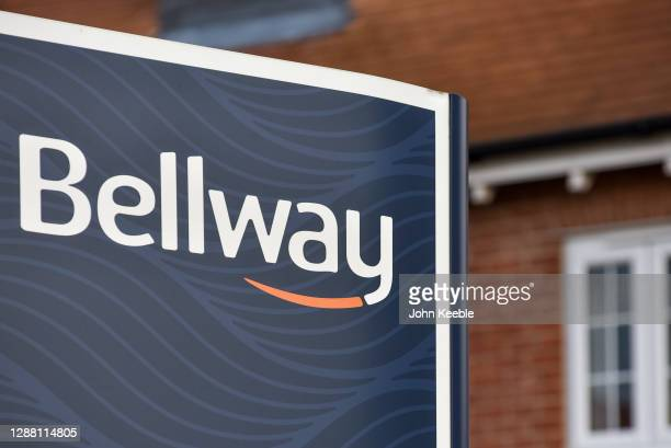 General view of residential property developer Bellway Homes signage at a new build housing estate on November 27, 2020 in Rochford, England.