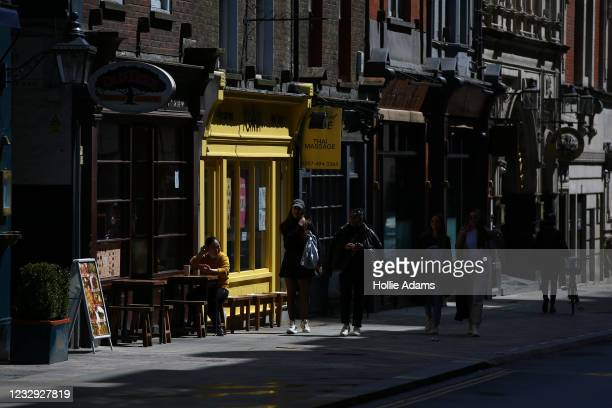 General view of restaurants in Soho on May 16, 2021 in London, England. England will further ease its Covid-19 lockdown restrictions tomorrow,...
