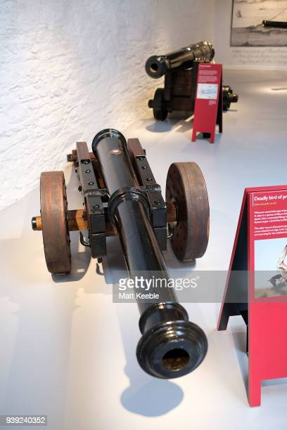 General view of restored cannons on March 28 2018 in Falmouth England English Heritage are warning that many of the historic cannons around the...