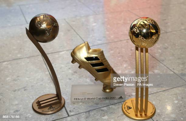 A general view of Rhian Brewster's Adidas Bronze Ball trophy Rhian Brewster's Adidas Golden Boot trophy and Phil Foden's Adidas Golden ball trophy as...