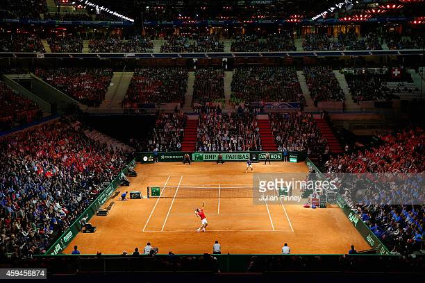 A general view of Richard Gasquet of France in action against Roger Federer of Switzerland during day three of the Davis Cup Tennis Final between...