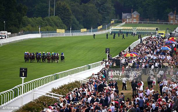 General view of riders during The Coventry Stakes race during Royal Ascot 2015 at Ascot racecourse on June 16 2015 in Ascot England