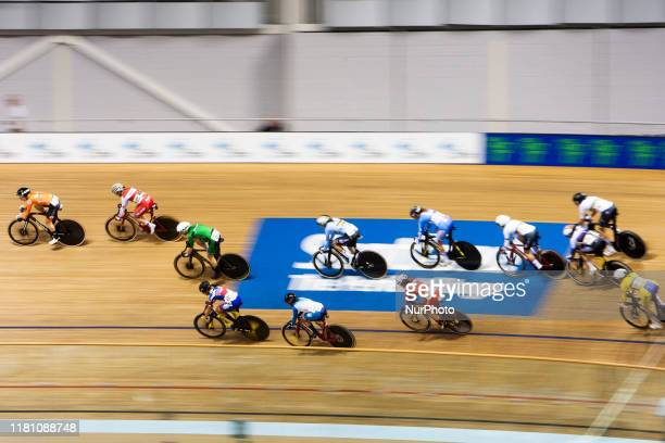 General view of riders in action during the Women's Scratch Race at the Sir Chris Hoy Velodrome on day two of the UCI Track Cycling World Cup on...