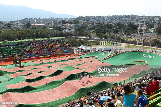 General view of riders in heat 3 run 2 in the Cycling BMX Men's Quarterfinals on Day 13 of the 2016 Rio Olympic Games at Olympic BMX Centre on August...