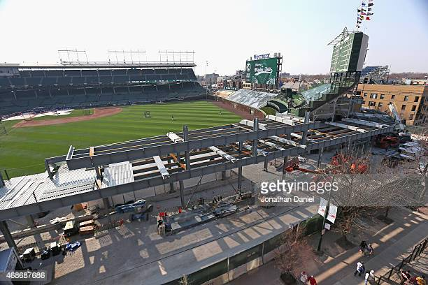 A general view of right field bleacher construction at Wrigley Field from a rooftop on Sheffield avenue before the Opening Night game between the...