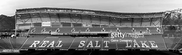 General View of Rio Tinto Stadium before the MLS match between the Philadelphia Union and Real Salt Lake on March 14 2015 in Sandy Utah