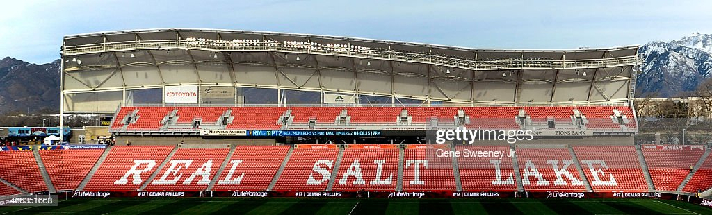 General View of Rio Tinto Stadium before the MLS match between the Philadelphia Union and Real Salt Lake on March 14, 2015 in Sandy, Utah.