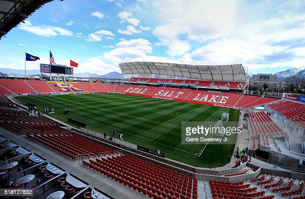 General view of Rio Tinto Stadium before the Seattle Sounders play Real Salt Lake on March 12 2016 in Sandy Utah