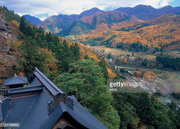 A general view of Risshakuji Temple on November 1 2008 in Yamagata Japan