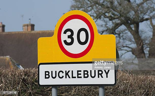 General View Of Road Signs In The Village Of Bucklebury Berkshire The Home Of Kate Middleton'S Parents Michael And Carole Middleton