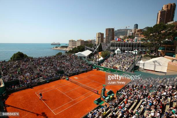 General view of Roberto Bautista Agut of Spain serving to David Goffin of Belgium during his men's singles match on day five of the Rolex Monte-Carlo...