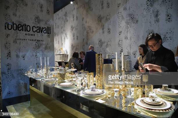 A general view of Roberto Cavalli Home stand at Salone Del Mobile during Milan Design Week at Fiera Milano Rho on April 20 2018 in Milan Italy