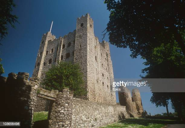 A general view of Rochester Castle which stands on the east bank of the River Medway Rochester Kent circa 1985