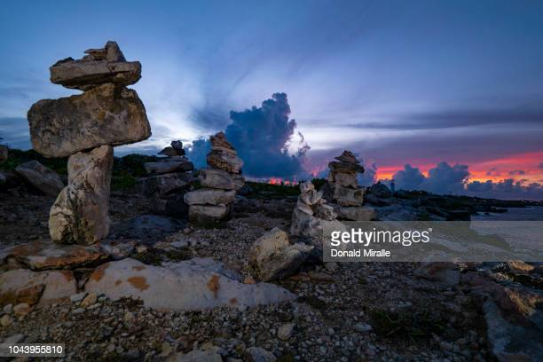 A general view of rock sculptures in Garrafon Reef Park in Punta Sur on September 27 2018 in Isla Mujeres Mexico Punta Sur is located at the southern...