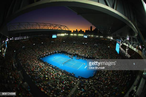 A general view of Rod Laver Arean at sunset as Rafael Nadal of Spain plays in his quarterfinal match against Marin Cilic of Croatia on day nine of...