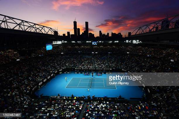 General view of Rod Laver Arean during the Men's Singles Quarterfinal match between Novak Djokovic of Serbia and Milos Raonic of Canada on day nine...
