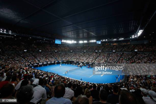 A general view of Rod Laver Arena ahead of the men's singles final between Roger Federer of Switzerland and Marin Cilic of Croatia on day 14 of the...