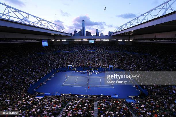 General view of Rod Laver Arena as Dominika Cibulkova of Slovakia serves in her women's final match against Na Li of China during day 13 of the 2014...
