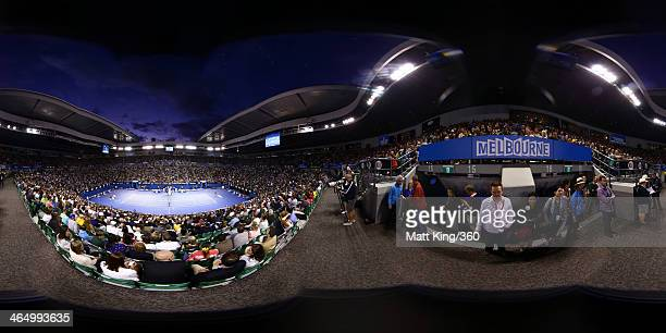 A general view of Rod Laver Arena as Dominika Cibulkova of Slovakia plays against Na Li of China in the Womens final during day 13 of the 2014...
