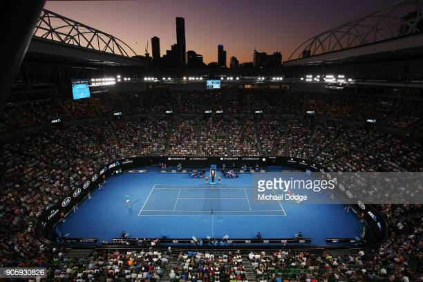 A general view of Rod Laver Arena as Grigor Dimitrov of Bulgaria and Mackenzie McDonald of the United States play their second round match on day...